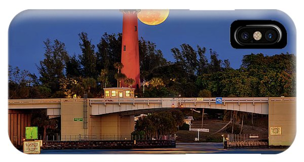 Full Moon Over Jupiter Lighthouse, Florida IPhone Case