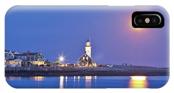Full Moon Over Scituate Light IPhone Case