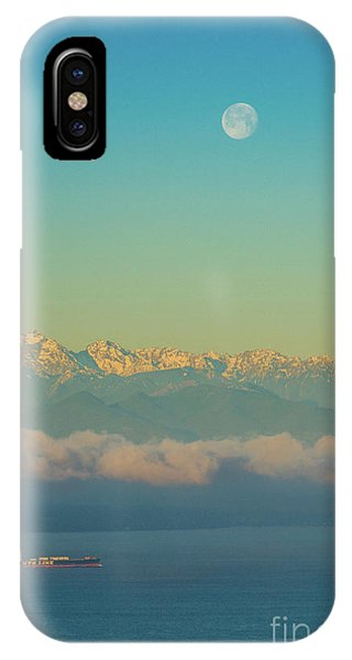 The Nature Center iPhone Case - Full Moon Over The Olympics At Sunrise by Mike Reid