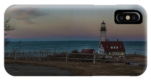 Full Moon Panorama Over Portland Headlight IPhone Case