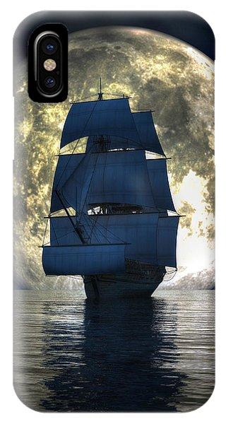 IPhone Case featuring the digital art Full Moon Pirates by Daniel Eskridge
