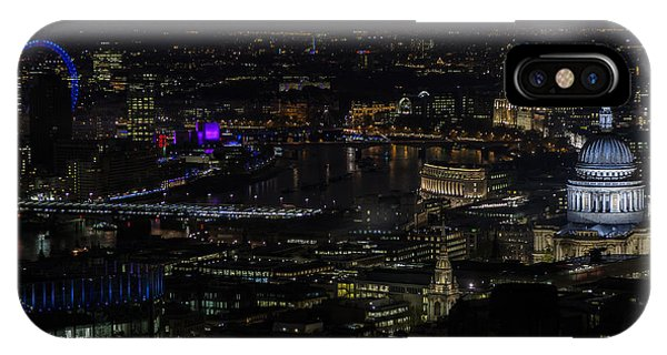 Full Color Moon Rising Over London Skyline  IPhone Case