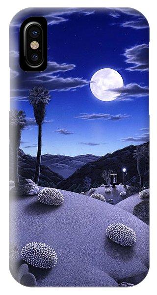 Desert iPhone X Case - Full Moon Rising by Snake Jagger