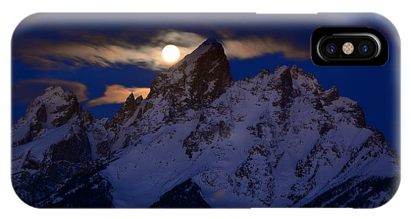 Full Moon Sets Over The Grand Teton IPhone Case
