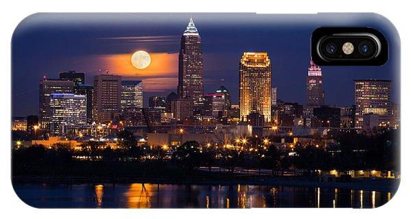 Full Moonrise Over Cleveland IPhone Case