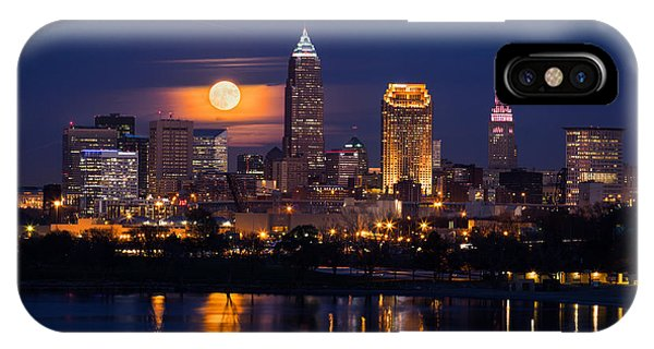 Full Moonrise Over Cleveland IPhone Case
