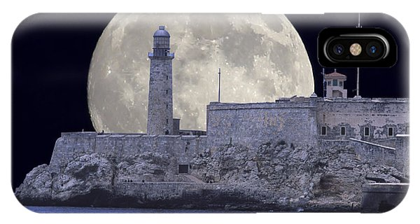 Full Moonrise Over The Castillo De Los Tres Reyes Magos Del Morro, Havana, Cuba IPhone Case