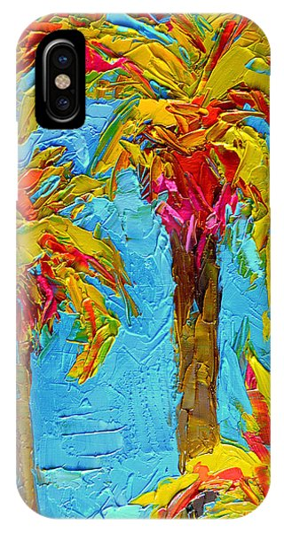 Funky Fun Palm Trees - Modern Impressionist Knife Palette Oil Painting IPhone Case