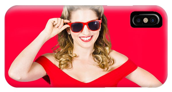 Funky Hip Pin-up Blonde In Summer Sunglasses IPhone Case