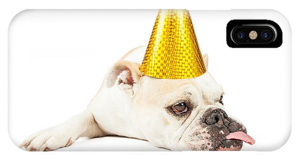 Funny Bulldog Wearing A Yellow Party Hat  IPhone Case