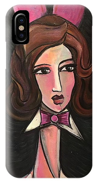 IPhone Case featuring the painting Funny Bunny Lady by Laurie Maves ART