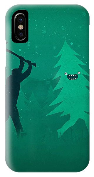 Humor iPhone Case - Funny Cartoon Christmas Tree Is Chased By Lumberjack Run Forrest Run by Philipp Rietz