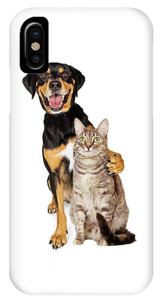 Funny Photo Of Dog With Arm Around Cat IPhone Case