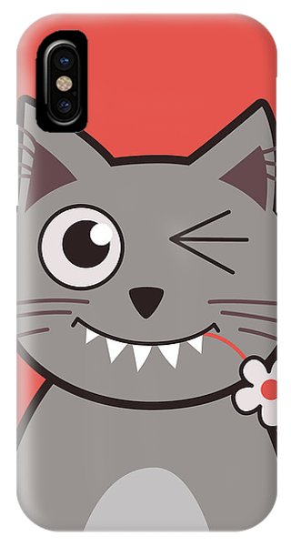 Funny Winking Cartoon Kitty Cat IPhone Case