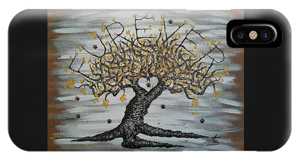 IPhone Case featuring the drawing Furever Love Tree W/ Paws by Aaron Bombalicki