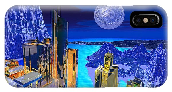 IPhone Case featuring the digital art Futuristic City by Deleas Kilgore