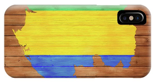 Traveler iPhone Case - Gabon Rustic Map On Wood by Dan Sproul