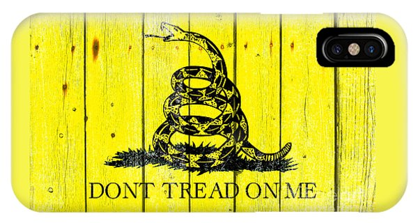 Gadsden Flag On Old Wood Planks IPhone Case
