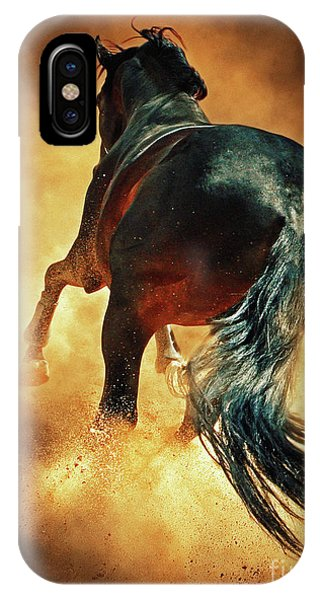 Galloping Horse In Fire Dust IPhone Case