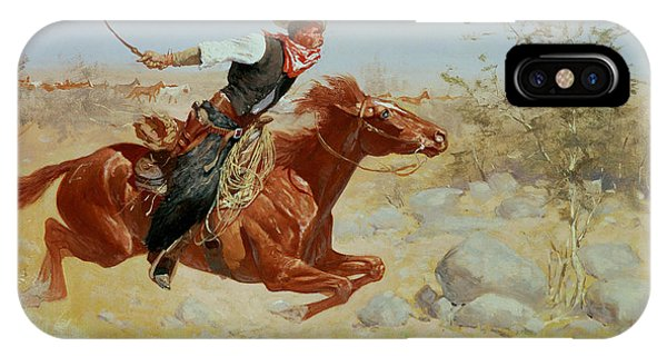 Horse iPhone X Case - Galloping Horseman by Frederic Remington