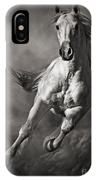 Galloping White Horse In Dust IPhone Case