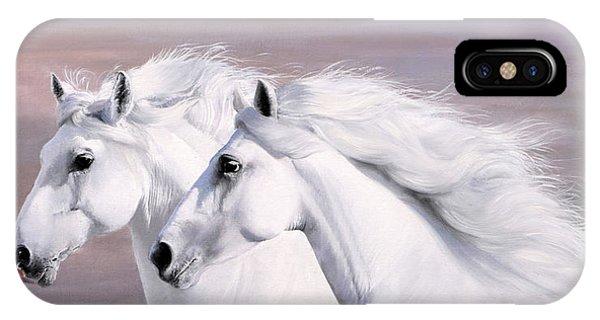 White Horse iPhone Case - Galoppo Nel Vento by Guido Borelli