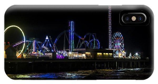 Galveston Island Historic Pleasure Pier At Night IPhone Case