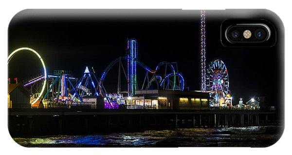 Galveston Island Historic Pleasure Pier At Night IPhone Case