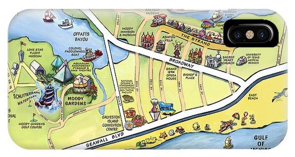 Galveston Texas Cartoon Map IPhone Case