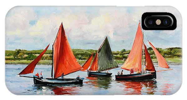 Boats iPhone X Case - Galway Hookers by Conor McGuire