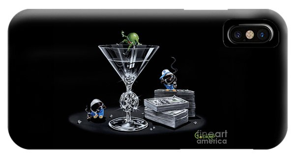 Diamond iPhone Case - Gangsta Martini Livin' Large by Michael Godard