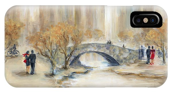 Blue Dress iPhone Case - Gapstow Bridge And Lovers by Marilyn Dunlap