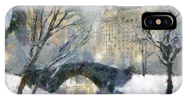 Manhattan Skyline iPhone Case - Gapstow Bridge In Snow by Dragica  Micki Fortuna