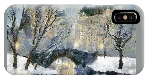 Gapstow Bridge In Snow IPhone Case