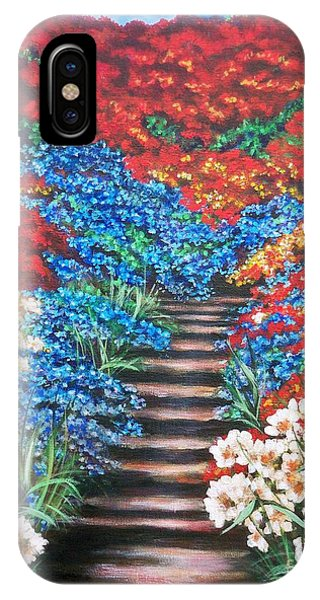 Red White And Blue Garden Cascade.               Flying Lamb Productions  IPhone Case