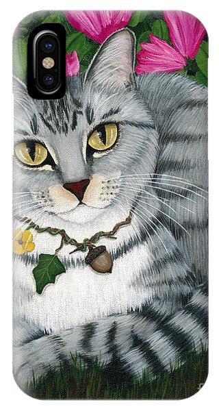 Garden Cat - Silver Tabby Cat Azaleas IPhone Case