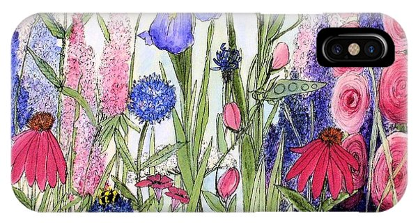 Garden Cottage Iris And Hollyhock IPhone Case
