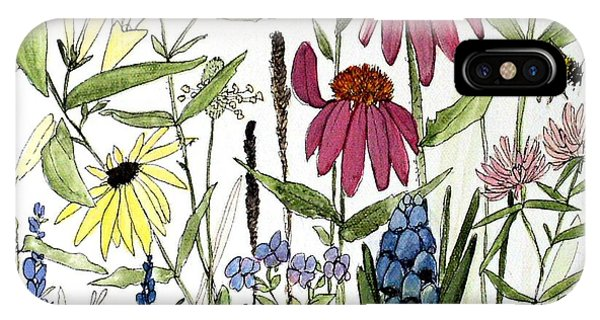 Garden Flowers With Bees IPhone Case