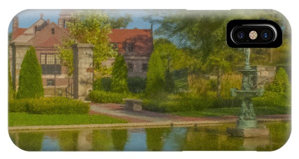 Garden Fountain At Ames Free Library IPhone Case