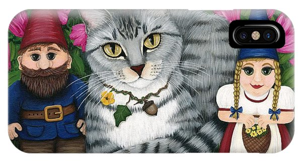 Garden Friends - Tabby Cat And Gnomes IPhone Case