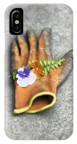 Garden Glove And Pansy Blossoms1 IPhone Case