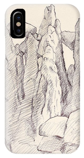 Garden Of The Gods Pulpit Rock Ink On Toned Paper  IPhone Case