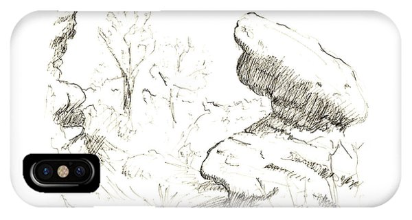 Garden Of The Gods Rocks Along The Trail Ink Drawing By Adam Lon IPhone Case
