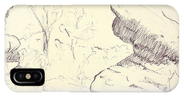 Garden Of The Gods Rocks Along The Trail Ink Drawing On Toned Pa IPhone Case