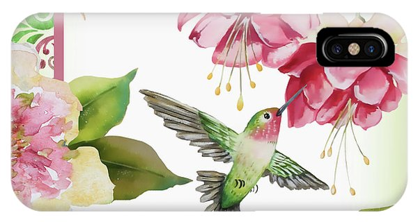 Humming Bird iPhone Case - Garden Party-a by Jean Plout