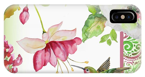 Humming Bird iPhone Case - Garden Party-b by Jean Plout