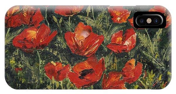 Grenn iPhone Case - Garden Poppies by Carlene Pappas