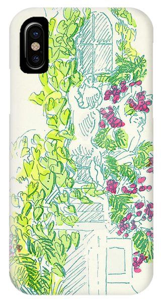 Flora iPhone Case - Garden Scene With Statue by German School