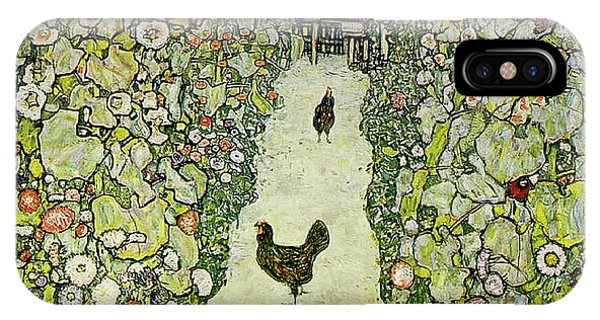 Rooster iPhone Case - Garden With Chickens by Gustav Klimt