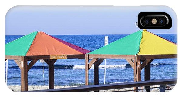 Gay Pride Flag iPhone Case - Gay Rainbow Flag Colours On A Beach In Tel Aviv by Ilan Rosen